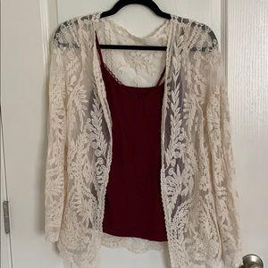 Long Sleeve Lace Open-Front Sweater